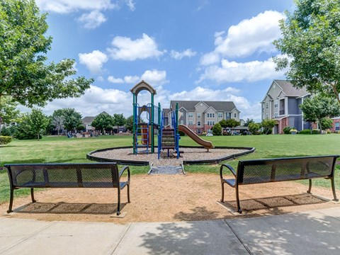 Outdoor Playground with bench seating